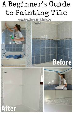 Painting Tile In Bathroom - How To Refinish Outdated Tile Yes I Painted My Shower Yes You Really Can Paint Tiles Rust Oleum Tile Transformations Painting Bathroom Tile 6 Things T. Painting Bathroom Tiles, Painting Shower, Painting Tile Countertops, Wall Tiles, Painting Over Tiles, Ceramic Tile Bathrooms, Painting Tile Floors, Painting Ceramic Tile Floor, Painting Tips
