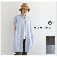 【etre nne エトレンヌ】<br>コットン 先染め スラブ ストライプ ワンピース (1032734)