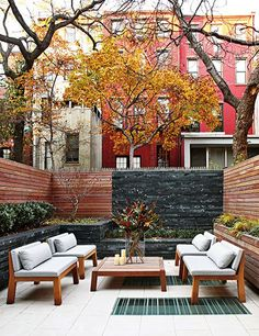 Turett Collaborative Architects designed this terrace for a New York City townhouse, where planter boxes provide most of the greenery.