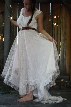 Upcycled lace slip wedding dress with train