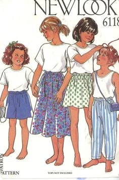 New Look 6118 Girls Pants, Skirt two lengths, Shorts Size 6 - cut - Sewing Patterns