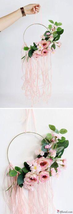 DIY Faux Floral Hoop Wreath