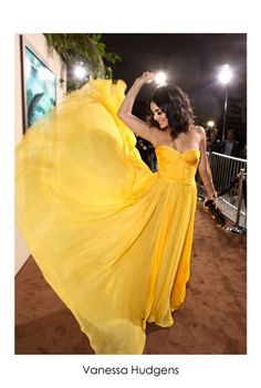 "Vanessa Hudgens in cannery yellow Maria Lucia Hohan, ""Helga"" dress, took me a while to find the dress on the web I love the pic"