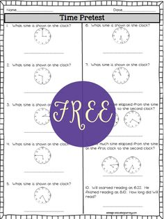 Enjoy a FREE elapsed time pretest! Continue on to get the set of 64 elapsed time task cards that can be scaffolded to your students abilities! Time Worksheets Grade 2, Math Worksheets, Math Resources, Teaching Time, Teaching Tools, Teaching Math, Teaching Ideas, School Age Activities, Math Activities