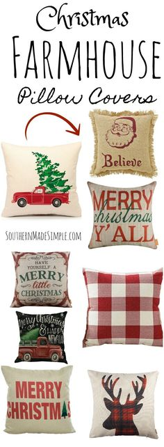 Farmhouse Christmas Pillow Covers on a Budget - and they're all available on Amazon! #Farmhouse #Christmas