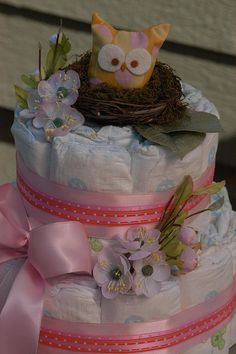 diaper cake. Awesome! Love the nest idea!!