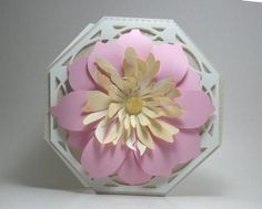 Octagonal floral card 2 cameo ready on Craftsuprint designed by Lyn Simms - Another octagonal card with a large flower as the centrepiece. Easy to make and a delight to receive. Perfect for any occasion. - Now available for download!