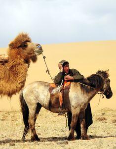 Séjour à cheval dans le désert de Gobi, accompagné des chameaux et des chevaux mongols http://reversehomesickness.com/asia/gobi-great-weather-extremes/