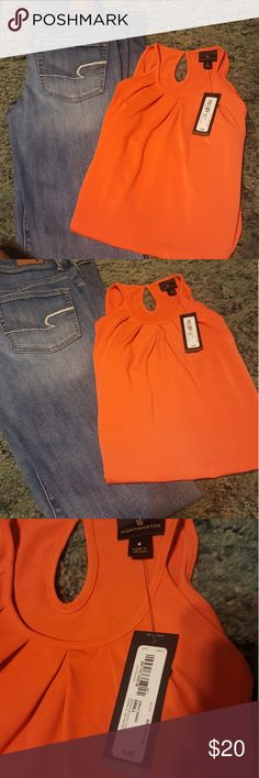 NWT orange tank Super cute! Silky material. Orange. Brand new with tags Worthington Tops Tank Tops
