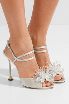 Miu Miu - Crystal-embellished Satin Sandals - Silver