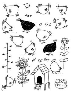 CHICKENS STAMP IMAGES - Tampon Artemio Poules - .