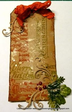 Scrapbooking by Lisette: 12 tags of christmas. Distressed. Vintage Tag inspired by Tim Holtz.