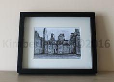 Scottish Castle 5x7 Art Print, Tolquhon Castle Art Print, Castle Ruin Art Print, Sketching Castle Art Print, Wall Art Print, Scotland Art by KimberleyART on Etsy