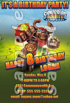 SKYLANDERS GIANTS 4X6 INVITATIONS WITH ENVELOPES$21.00