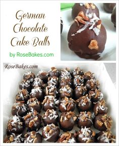 German Chocolate Cake Balls - so easy and delicious! I liked them better without the chocolate around Cake Ball Recipes, Candy Recipes, Dessert Recipes, Just Desserts, Delicious Desserts, Yummy Treats, Sweet Treats, Cake Candy, Cake Truffles