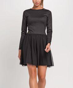 Look at this #zulilyfind! Black Chiffon-Skirt Skater Dress #zulilyfinds
