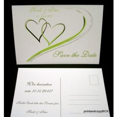 """Save the Date """"Harmonie grün"""" Save The Date, Place Cards, Dating, Container, Place Card Holders, Names, Quotes, Wedding Invitation"""