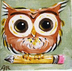 'Wise Little Owl' by Blue Sea Paint Shop @Mellie Blossom THIS is what the owls looked like..... eyes not so large, of course....