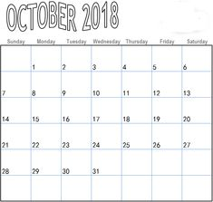 october 2018 calendar printable vertical with note space