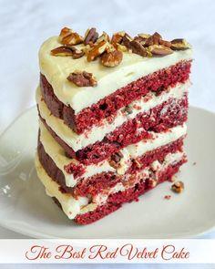The Best Red Velvet Cake cut slice