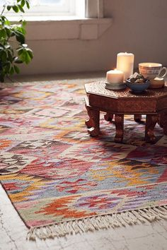 Colorful bohemian woven rug - Magical Thinking Maimana Rug by Urban Outfitters