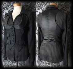 Goth Black Pinstripe Satin SIREN Fitted Corset Waistcoat 10 12 Victorian Vintage - £24.00