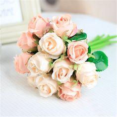 12 unids/set Rosa Que Sostiene las flores ramo Tailandés Royal Rose flores artificiales de seda de flores rosas de lujo decoración del hogar de la boda