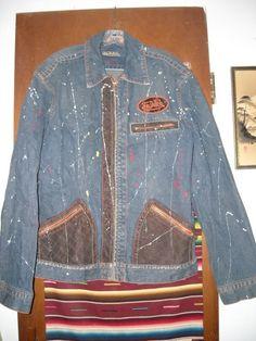 Mens Von Dutch Denim Jacket Leather Trim Paint Splattered Distressed