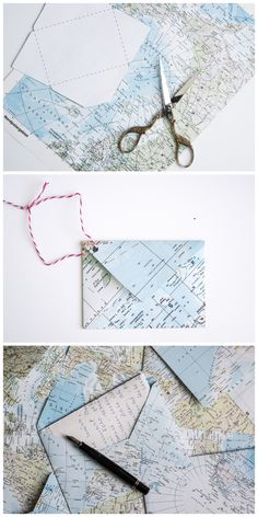 How to fold an envelope from an atlas page Start writing handwritten letters again! Envelopes made of upcycled maps How to fold an envelope from an atlas page Start writing handwritten letters again! Envelopes made of upcycled maps Map Crafts, Diy And Crafts, Upcycled Crafts, Envelope Diy, Origami, Pen Pal Letters, Handwritten Letters, Letter Writing, Mail Art