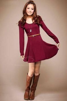 Sweet Scoop Neck Flared Hem Slim Fit Off-The-Shoulder Solid Color Women's Dress, WINE RED, ONE SIZE in Long Sleeve Dresses | DressLily.com