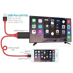 Cavo HDMI TV DI iphone, plug and play, fulmini iPhone a HDMI cavo del display HDTV adattatore AV digitale trasmettere audio e video Home Cinema per iPhone 7 7 Plus 6S 6S Plus 6 6 Plus 5 5 C 5S se, iPad Air/Mini/Pro, iPod Touch 5th/6th (senza applicazione di bisogno, non c'è bisogno di più impostazione)