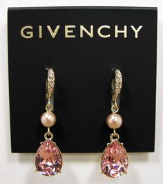 Givenchy Blush Pink Rose Crystal Teardrop Gold Tone Drop Earrings MSRP $48...Only $34.99 with free shipping!!  #Givenchy #DropDangle
