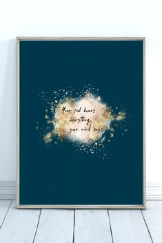 Cute printable wall art. This inspirational blue and gold quote print will add a splash of color to your living room, bedroom or office. It is available as a digital download in 4 different sizes: 5 X 7 inches, 8 X 10 inches, European standard A4 and US letter (8.5 X 11 inches). After purchase you can download the picture and print it as many times as you want :) Color may vary from monitor to monitor. Personal use only, no reselling. Quote Prints, Wall Art Prints, All Poster, Posters, Wall Decor Quotes, Pink Lotus, Affordable Art, Watercolor Flowers, Printable Wall Art