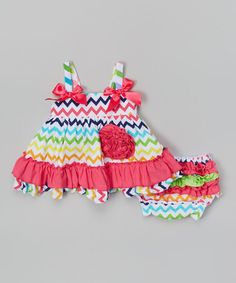 Look at this #zulilyfind! Rainbow Zigzag Swing Tank & Diaper Cover - Infant by Jelly Bean #zulilyfinds