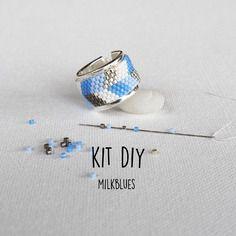 Kit bijoux bague tissage perles miyuki  - bleu argent - modèle milk blues*
