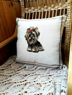 custom dog pillow,embroidered pillowcase,cat pillowcase,yorkshire gifts,personalized pillow case,cross stitch pattern funny,tapestry cushion