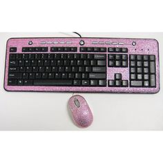 GIFT SET - Pink Crystal Rhinestone USB Computer Keyboard & Optical Mouse