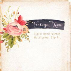 Watercolour Hand Painted Clip Art  Vintage Rose by CreateTheCut, £3.50