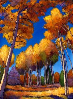 """Up and Away."" Aspen tree landscape painting on canvas. Fall foliage aspen trees from the mountains of New Mexico. Landscape painting by Johnathan Harris."
