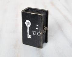 Wedding Ring Bearer Pillow / Box  Black Wedding Box, Ring Bearer Box , I Do Personalized Ring Bearer  box, ohtteam