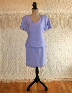 Lavender Purple Skirt Suit 90s Dress Linen Rayon by MagpieandOtis
