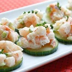 Shrimp Salad on Cucumber Slices. Light, low-carb and gluten free!
