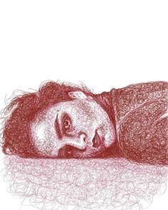 Biro Art, Biro Drawing, Drawing Artist, Pen Art, Dotted Drawings, Pencil Art Drawings, Biro Portrait, Drawing Portraits, Scribble Art
