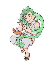 Genji as a kid hugging the green dragon💕 So cute! Overwatch Comic, Overwatch Memes, Overwatch Fan Art, Shimada Brothers, Genji And Hanzo, Genji Shimada, Mythical Creatures, Anime, Character Design