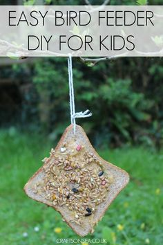 This simple bird feeder for kids to make is perfect for all ages including preschooler as it requires very little adult help. The birds loved it too!