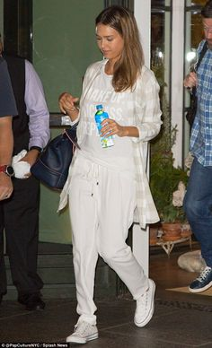 Travel style: Jessica Alba looked a little tired albeit beautiful, per usual, as she was spotted comfortably clad in all white before a flight out of the Big Apple on Friday