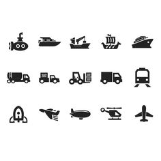 15 Clean Transportation Vector Icons Set - http://www.dawnbrushes.com/15-clean-transportation-vector-icons-set/