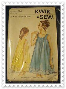 VINTAGE Nightgown Gown Waltz Sheer Uncut Kwik Sew OS