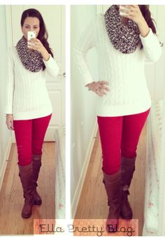 Red jeans, white sweater, brown boots, leopard scarf. I would probably use a different print for the scarf.