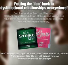 www.totallifechanges.com/3503231    Put the spark and love back in your marriage or relationship! Strike up for men and Love for women. All natural pills. So much better than that blue pill.